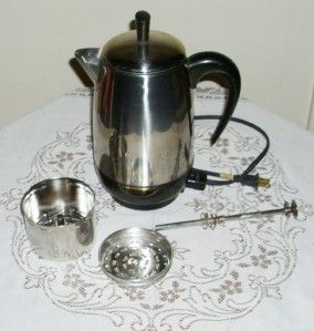SUPERFAST AUTOMATIC 2 8 CUP COFFEE POT ELECTRIC PERCOLATOR WORKS EUC