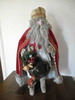 Gorgeous Large Vintage Santa Claus w Paper Mache Face Signed by Artist