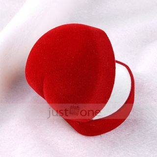 Red Heart Shape Velvet Jewelry Ring Show Display Storage Gift Box Case