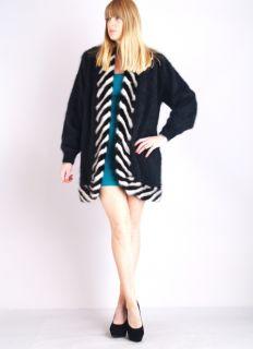 Vtg MINK FUR Jumper Sweater Art Deco 100% ANGORA Scallop Cape Draped