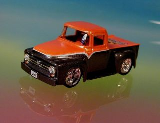 Hot Kustom Classic 56 Ford F100 Pickup Truck Limited Orange 1 64 Scale