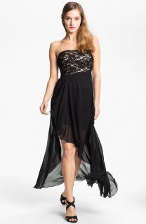 Jessica McClintock Asymmetrical Strapless Chiffon Dress