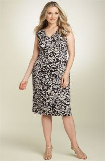 Adrianna Papell Pleated Stretch Jersey Dress (Plus)