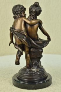 Colonial Era Game Children by Moreau Bronze Statue Sculpture Figurine