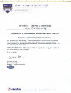 Mariano Rivera Signed Original Yankee Stadium Game Used Seatback