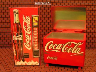 Coca Cola Cooler Ice Chest, ONE Soda Vending Machine +FREE1:24 G