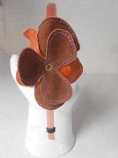 Colette Malouf Pink Satin Multi Layer Leather Flower Headband $130