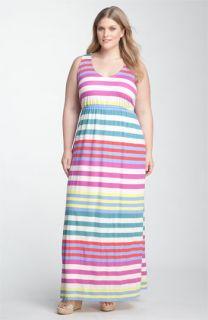 Splendid Tropical Stripe Maxi Dress (Plus)