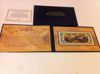 COLORIZED TWO DOLLAR BILL WITH nice PRESENTATION GIFT CASE COA