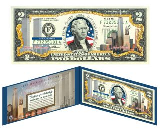Center 9 11 10th Anniversary Colorized Legal 2 Dollar Gift Bill