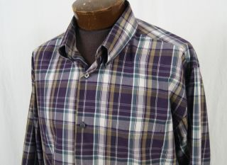 Alexander Julian Colours Purple and White Plaid Shirt Size XXL 2XL
