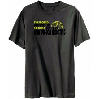 Clay Pigeon Shooting Mens T Shirt Dark Silver