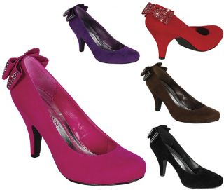 New Round Toe Med High Heel Pumps Bow Suede Pink Red Purple Blk Carrie