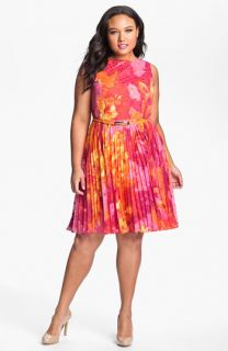 Adrianna Papell Print Fit & Flare Dress (Plus)