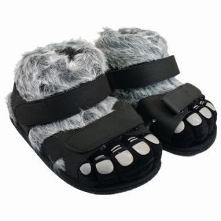 Warm Comfy Black Gray Hairy Monster Feet Sandal Slippers Mens Ladies