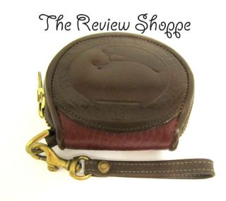 Dooney Bourke Small Burgundy Leather Coin Purse w Swan