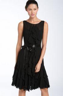 Adrianna Papell Illusion Bodice Chiffon Dress