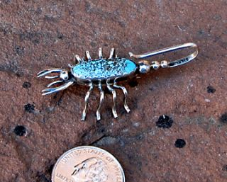 Navajo Yazzie Sterling Silver Turquoise Scorpion Pin Pendant