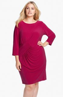 Adrianna Papell Asymmetrically Ruched Jersey Dress (Plus)