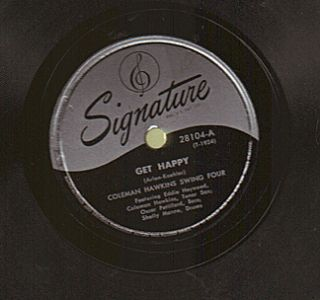 COLEMAN HAWKINS SWING FOUR vintage jazz 78 rpm record Signature 28104