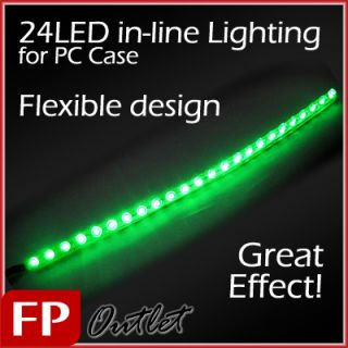 Diyforce 24 Green LED Light Long Tube in Line PC Case