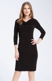 David Meister Ruched Cowl Neck Jersey Sheath Dress