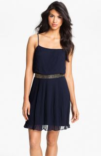 Adrianna Papell Beaded Waist Pleated Chiffon Dress