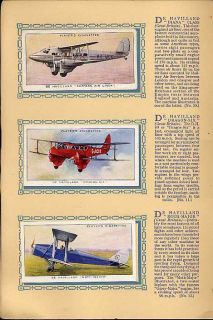 Tobacco Card Album Cards John Player Aeroplanes Civil Aircraft Plane