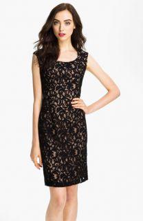 Adrianna Papell Cap Sleeve Lace Sheath Dress