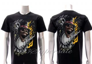 HR25 Hot Rock T Shirt M L XL Tattoo Glow in Dark Demon Gamble Skull