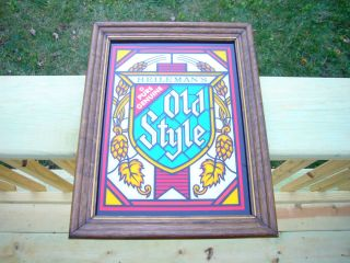 Heilemans Old Style Beer Colored Glass Bar Sign in Wood Frame 14 x11