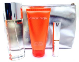 Clinique Perfectly Happy 3 Set Women Spray Perfume 1 7 oz Body Wash 2
