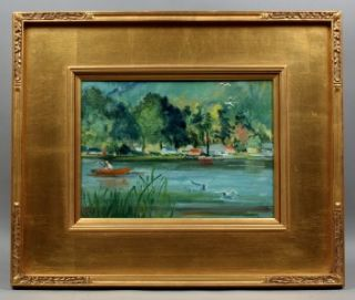 Original Listed Modern Impressionist Oil Painting Lake