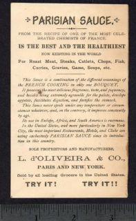1800s Ad Card Statue Liberty Columbia SHIP Eagle Sauce