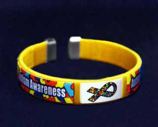 Autism Awareness Fabric Cuff Bracelets Support Our Team