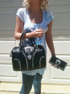 Combo Rhinestone Black Ostrich Faux Shoulder Handbag Purse Wallet Set
