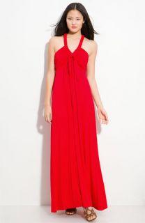 Calvin Klein Tie Front Jersey Maxi Dress