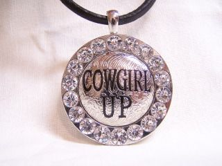 WESTERN RHINESTONE STUDDED COWGIRL UP CONCHO PENDANT NECKLACE