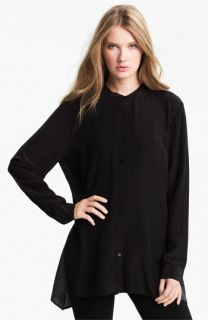 Eileen Fisher Mandarin Collar Silk Shirt (Online Exclusive)
