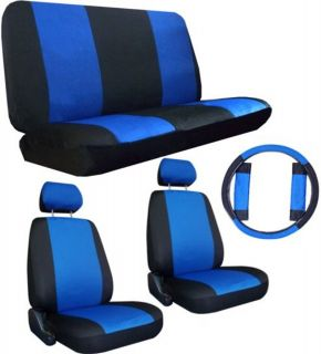BLUE BLK COMFORT CAR TRUCK SUV SEAT COVERS w/ Steering Wheel
