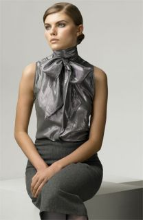 Ralph Lauren Black Label Casey Metallic Silk Ascot Blouse