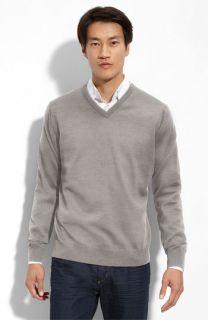Thomas Dean Merino Wool V Neck Sweater