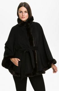 Ellen Tracy Faux Fur Trimmed Cape (Plus)