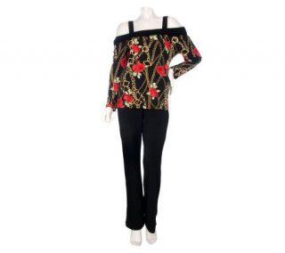 Susan Graver Liquid Knit Open Shoulder Banded Top and Pants Set