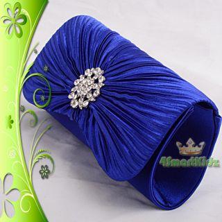 Blue Satin Evening Flap Clutch Handbag Bag Purse Wedding Bridal Party