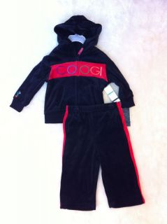 NWT COOGI Boys 2pc VELOUR set jumpsuit zip up hoody High Quality NAME