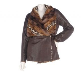Dennis Basso Reversible Faux Fur & Leather Coat w/Shawl Collar