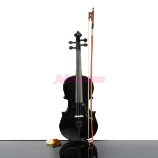 New Professional 3/4 Black Composite Wood Acoustic Violin + Case+ Bow