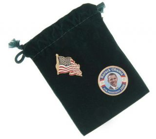 2008 President Barack Obama Colorized Coin Lapel Pin and Flag Pin Set
