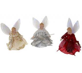 Set of 3 Fiber Optic Angel Ornaments —